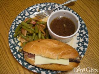 French dip and smoked beans