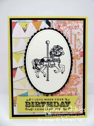 Carousel Birthday Stampin' Up! Diana Gibbs inspired by Carolina Evans