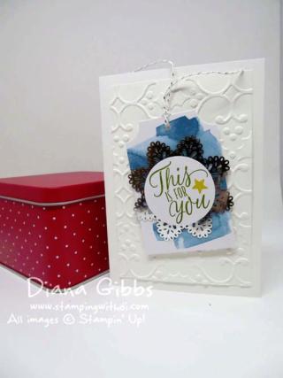 Pop-Up Class Series ~ Tin of Tags Diana Gibbs Stampin' Up! Christmas Card