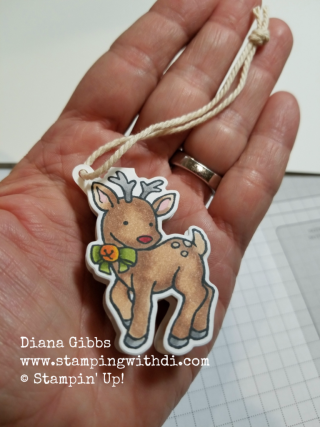 Seasonal chums deer tag Diana Gibbs Stampin' Up!