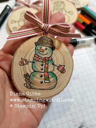 Wooden ornament Seasonal Chums Snowman Diana Gibbs