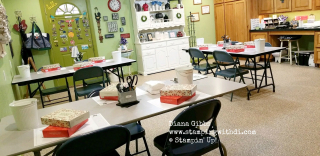 Class set up in Stamping With Di Studio www.stampingwithdi.com
