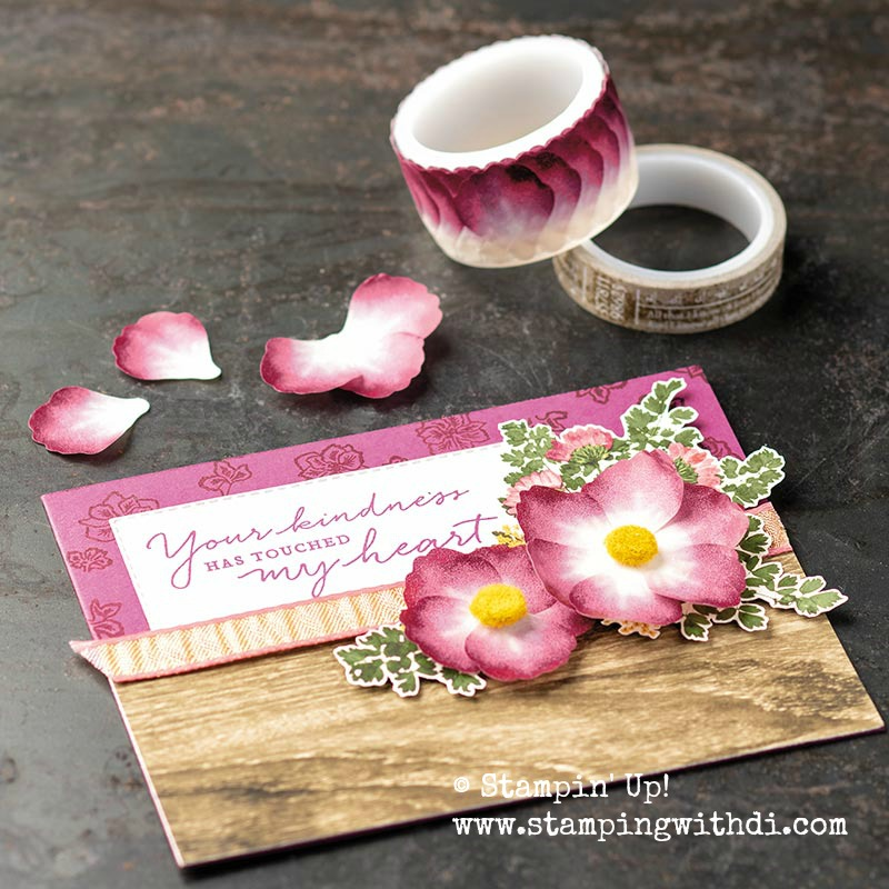 Pressed petals washi tape card