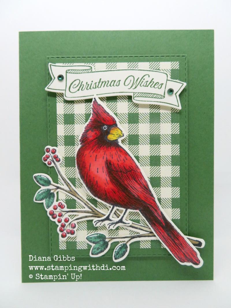 Toile Christmas Garden Green Cardinal