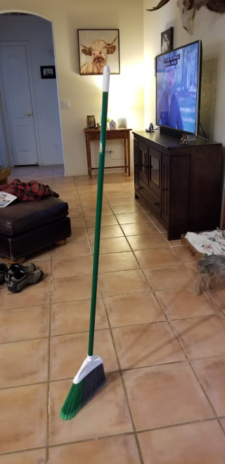 Broom in livingroom