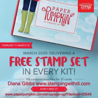 Paper pumpkin free stamp set 2020 www.stampingwithdi.com