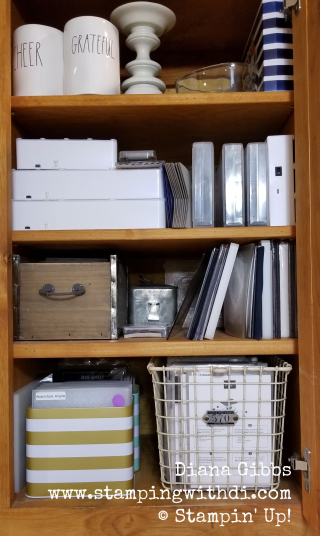 Organized cupboard www.stampingwithdi.com