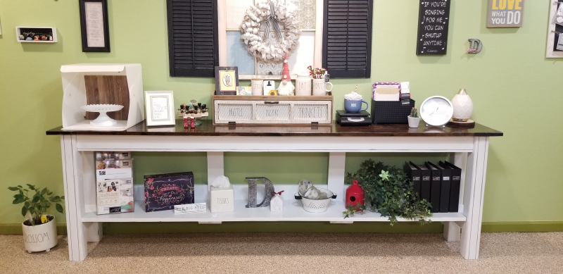 Decorated bench table front