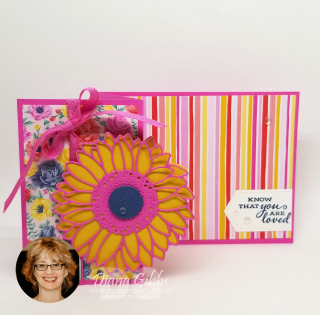 Flowers for Every Season Sunflower Z fold stripes www.stampingwithdi.com