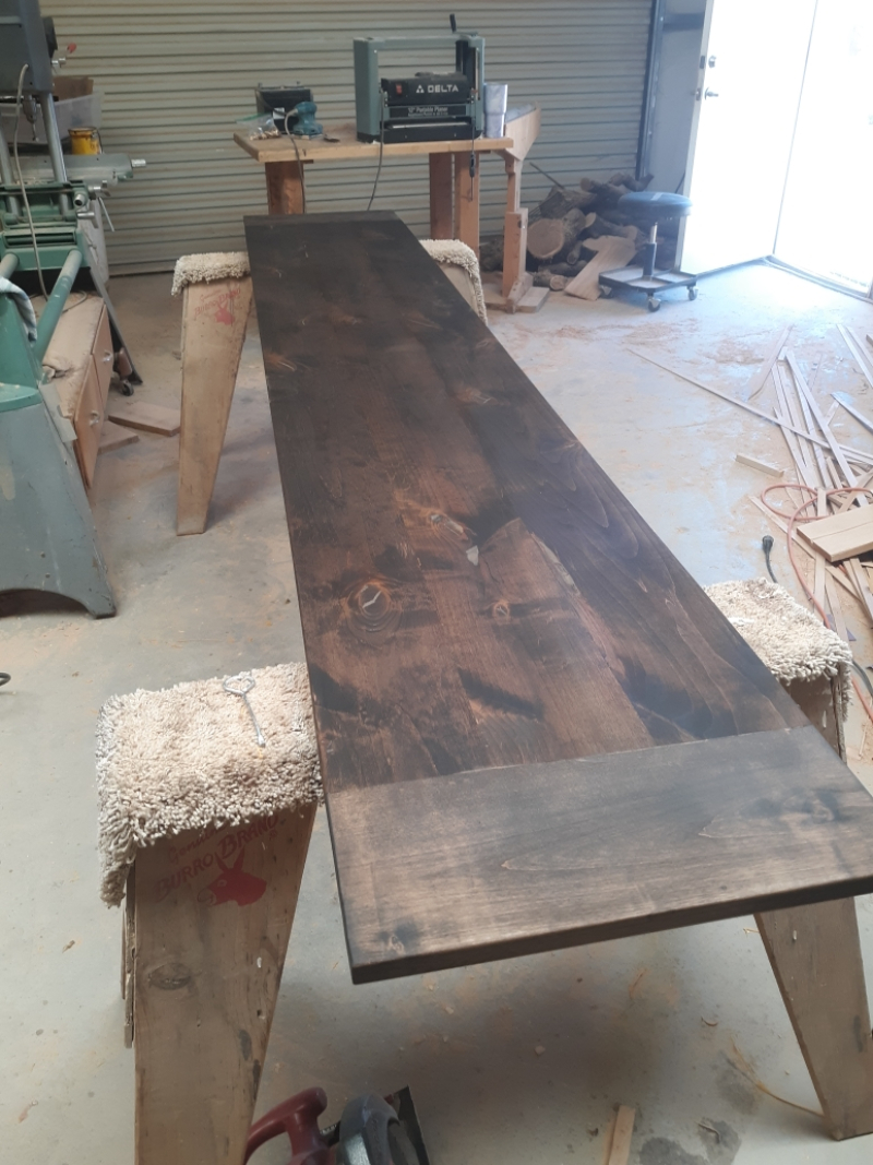 Stained bench table