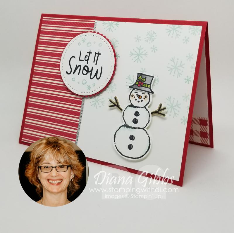 Snowman season card with face