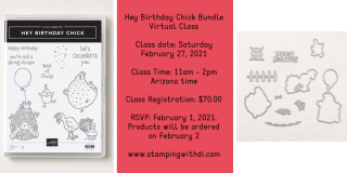 Hey Birthday Chick Bundle Virtual Class stampingwithdi