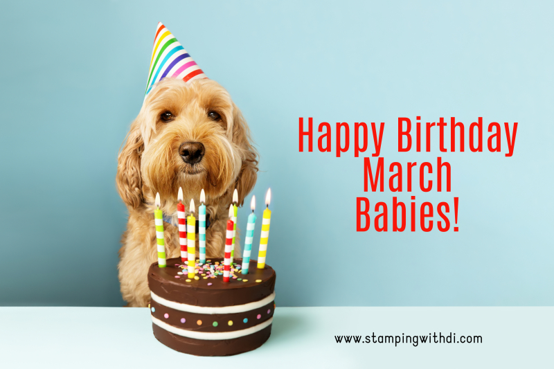 March Birthday Dog stamping with di