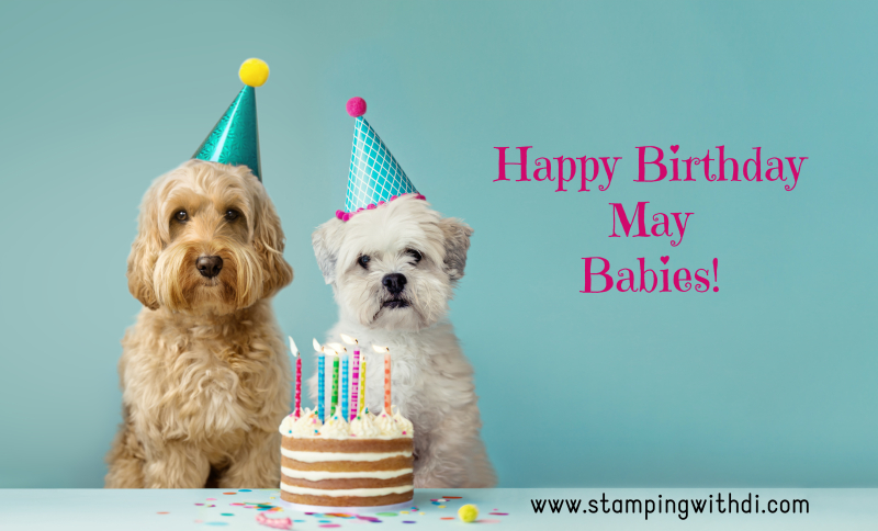 Birthday Dog May stamping with di