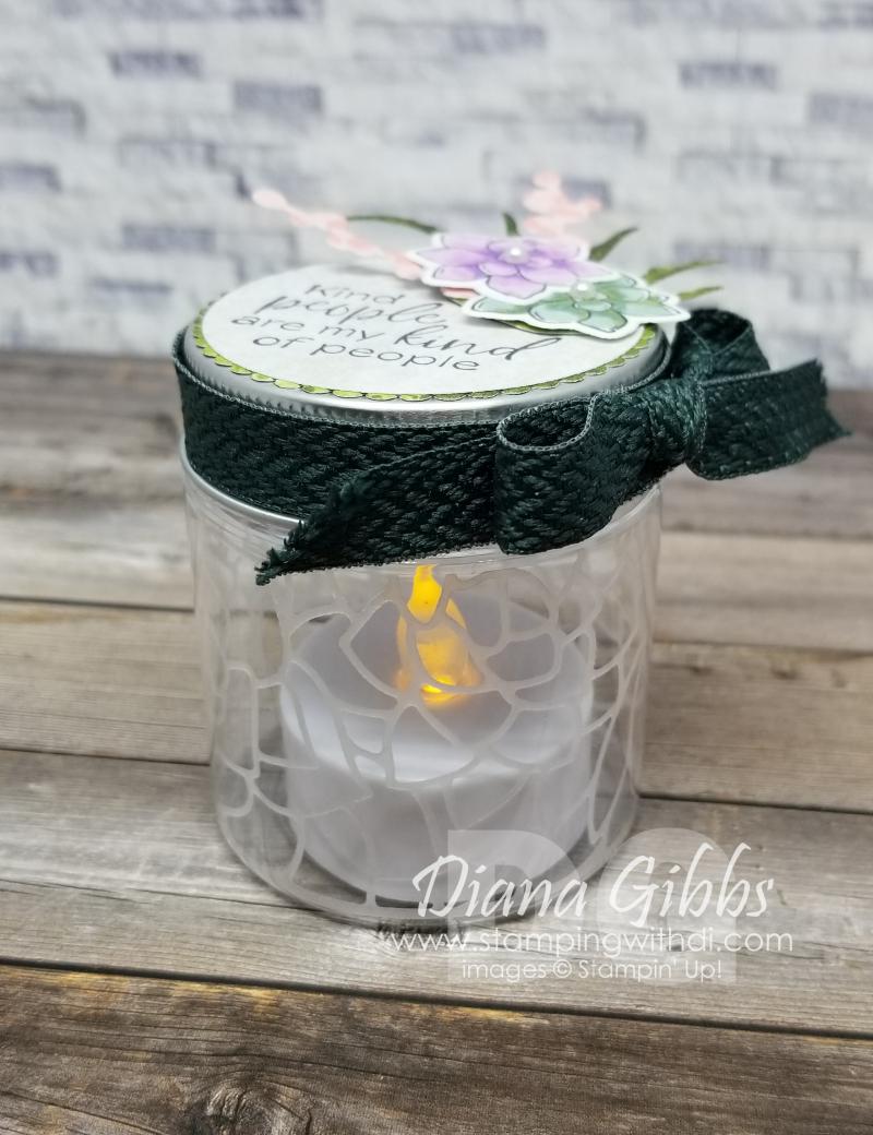 Mini Jam Jar Luminary stamping with di