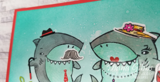 Shark Frenzy Mirror Card alcohol bubble close up stamping with di  https://www.stampingwithdi.com/2021/04/how-to-do-the-mirror-technique.html