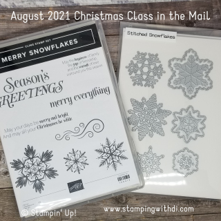 August 2021 Christmas Class in the Mail stamping with di  https://www.stampingwithdi.com/2021/08/august-classes-in-the-mail-measure-of-love-merry-snowflakes.html