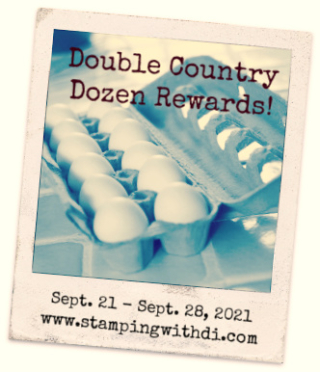 Double Country Dozen Rewards Eggs Sept 2021 stamping with di